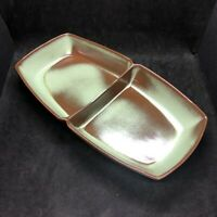 Vtg FRANKOMA Green Divided Serving Dish Vegetables Sides #5QD 13.5quot; x 7.25quot; MCM