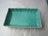 Los Angeles Pottery Serving Tray Dish Aqua Green White Color