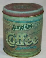 Vintage Retro Farmhouse Country Sunshine Coffee Tin Canister © 1977 R amp; D