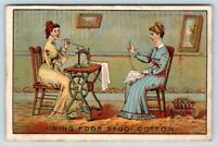 1879 1880 HALF YEAR CALENDAR*Jamp;P COATS SPOOL COTTON*LADIES SEWING*TRADE CARD