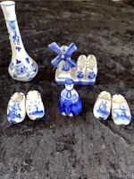Vintage Holland Delft Blue Lot Of 5 Vase Bell Shoes And Windmill