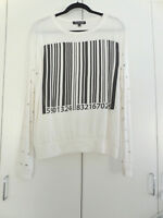 UPC BAR CODE TOP BY Rockulture RK7 white amp; black Studded 11 12 Sz Lg NOT WORN $19.99