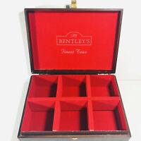 Bentleys Finest Teas Vintage Storage Box Red Felt Lined Container 6 Compartments