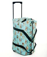 Happy Camper Rolling Duffel Bag Suitcase Blue Outdoor Travel Straps