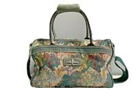 VTG ATLANTIC Luggage Tapestry Carry On Carpet Bag Weekend Tote Green Floral 14quot;