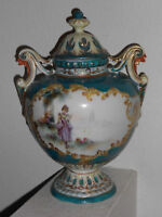 Early Nippon Hand-Painted Portrait Porcelain Coverd Urn