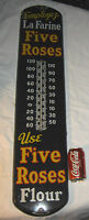 ANTIQUE FIVE ROSES FLOUR COUNTRY CA STORE PORCELAIN THERMOMETER ADVERTISING SIGN