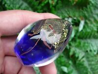 Glass Eye Studio - art glass - EGG PAPERWEIGHT - cobalt blue w gold - GES 1997