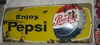 ANTIQUE PEPSI COLA SODA CAP BOTTLE PORCELAIN SIGN STORE ART ADVERTISING BEVERAGE
