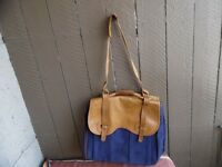 Vintage Bill Blass Leather & Blue Canvas Luggage Tote Duffle Shoulder Bag (g187