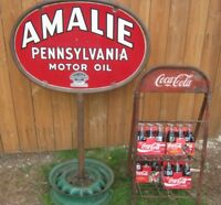 ANTIQUE USA 1934 2 SIDED OVAL PORCELAIN AMALIE PA MOTOR OIL GAS TOOL ART SIGN US