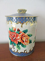 vintage MURRAY ALLEN TIN Roses and Gilt amp; Blue Weave