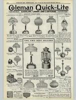 1923 PAPER AD Coleman Air-O-Lite Arc Lamp Lantern Quick Lite Gas Lamp Screen