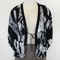 Pink Wheels Floral Dreams Black White Pocket Open Cardigan Blouse Small