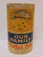 Rare Old Vintage 1941 OUR FAMILY ROLLED OATS FARM BOX CAN MINNEAPOLIS MINNESOTA