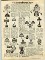1919 PAPER AD Air-O-Lite Gas Gasoline Glass Shade Lamp Lantern Chandelier Nulite