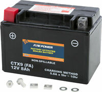 Factory Activated Sealed Battery Fire Power CTX9-BS(FA) Replaces YTX9-BS