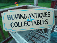 CUSTOM made store sign BUYING ANTIQUES & COLLECTABLES