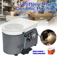 350W 110V Electric Pottery Wheel Ceramic Machine Foot Pedal + Hand Control Clay