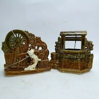McCoy Pottery Scotty dog and cat spinning wheel and wishing well