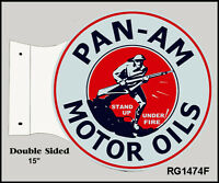 Retro Pan Am Motor Oil Double Sided Flange Sign