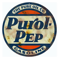 Reproduction Purol Pep Gasoline Sign 14 Round