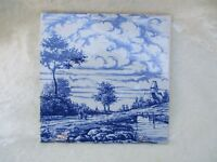 Vintage Delft OUD Blue and White Rivers Edge Scenery Pottery Tile