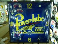 Restored Power-Lube Motor Oil Lighted Pam Advertising Clock Sign Oil