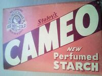 Vintage Staley's Cameo Perfumed Starch Unopened  Box New!Pink Box Good Condition