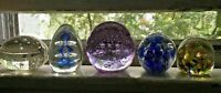 Vintage Lot of 5 Art Glass Paper Weights Paperweights Collection Set