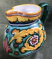 Vintage DERUTA pottery Pitcher / Jug  - Hand Painted - Italy