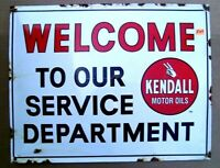 Kendall Motor Oil Welcome To Our Service Department Enamel Sign Gas amp; Oil F44