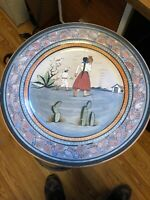"""VINTAGE 16"""" HAND PAINTED MEXICAN TOURIST POTTERY ROUND CHARGER/PLATTER Jimoca"""