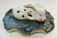 WHITE RABBIT FIGURINE OOAK STUDIO FOLK ART CLAY POTTERY 2 pc BY DEE BURROW
