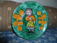 Ceramic pottery Italy mid century PV plate saucer