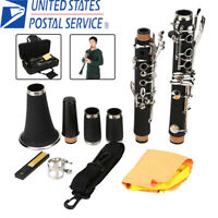 Clarinet Bakelite 17 Key B Flat Soprano Nickel Exquisite With Case+Care Kit