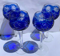 Bohemian Crystal Cut to Clear Cobalt Blue Wine Glasses, Set of 4