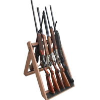 10 Gun Rack Storage Rifle Display Stand Vertical Wood Tactical Wooden Portable