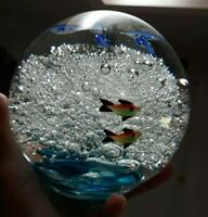 LARGE GLASS SWIMMING FISH UNDERWATER PAPERWEIGHT
