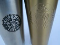 Starbucks Thermos insulated gold 16 fl.oz 2014 2010 LOT cup travel coffee tea