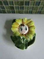 Vintage Anthropomorphic Big Eye SunFlower Ceramic Wall Pocket 5