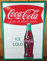 COCA COLA SIGN OF GOOD TASTE ICE COLD FISHTAIL LOGO EMBOSSED METAL ADV SIGN
