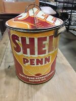 VINTAGE Unique 5 Qt Shell Penn Golden Shell Oil Gas Can - Folk Art Tin Canister