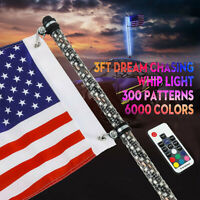 3ft Lighted Spiral LED Whip Antenna w/ Flag & APP Remote for ATV Polaris RZR UTV