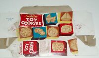1957 Sunshine TOY COOKIES cookie box (animal crackers style)