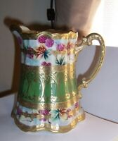 ANTIQUE NIPPON HAND PAINTED berries and GOLD embossed PITCHER  LEAF MARK