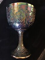 Fenton Amethyst Carnival Persian Medallion Chalice Art Glass