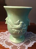 Vintage McCoy Green Cardinal Song Bird and Holly Berry Vase