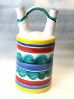 Mid Century Italy Pottery Double Spout Jug Signed Desimone Picasso Style