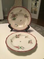 """Pair of French Antique PORCELAIN Soup Plates by SARREGUEMINES in Strasbourg 9.5"""""""
